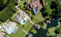 photo from a drone of a beautiful lakefront home in orlando florida
