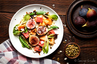 picture of  afresh salad made with fresh picked figs and snap peas