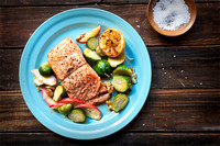 broiled salmon with brussels sprouts